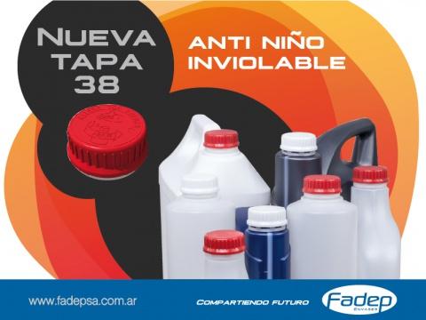 Nueva Tapa anti niño Diametro 38 con precinto inviolable.