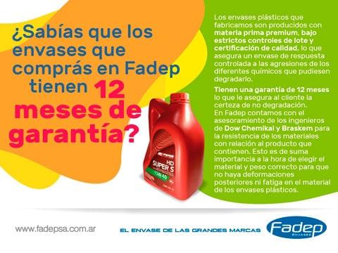 Los Envases Fadep tienen 12 meses de garantía